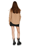 Brown Cutout Poplin Jacket