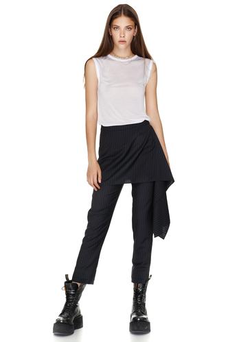 Stripe Wool Skirt Layered Pants - PNK Casual