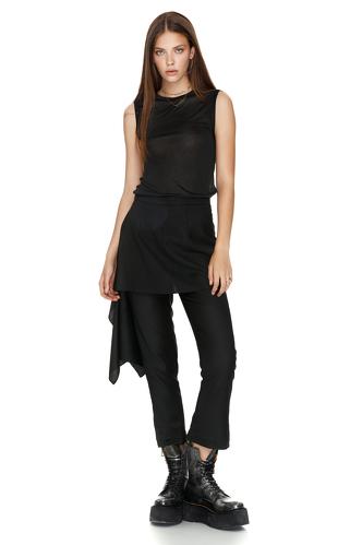Black Wool Skirt Layered Pants - PNK Casual