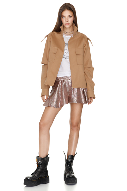 Metallic Silk Ruffled Shorts