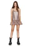 Metallic Silk Mini Dress With Straps