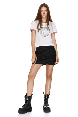 Printed T-Shirt With Dusty Pink Trim - PNK Casual