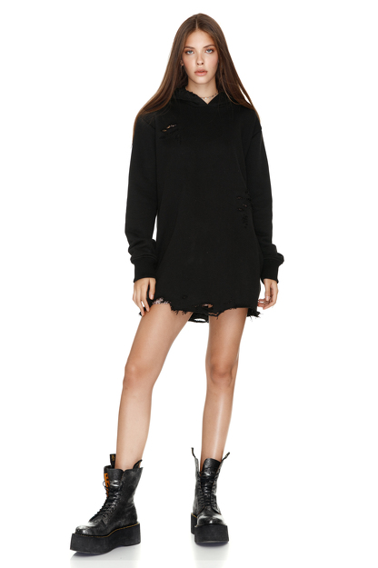 Oversize Black Hooded Sweatshirt