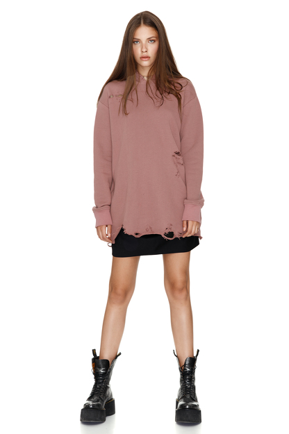 Oversize Dusty Pink Hooded Sweatshirt
