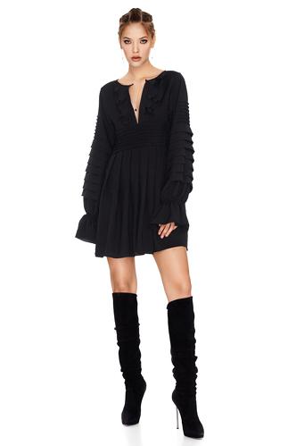 Black Mini Pleated Dress - PNK Casual