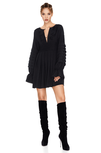 Black Mini Pleated Dress