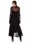 Black Silk Chiffon Midi Dress