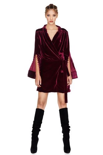 Fuchsia Velvet Wrap Dress - PNK Casual