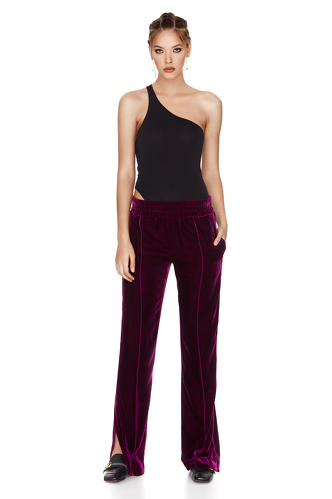 Fuchsia Velvet Pants With Side Cut - PNK Casual