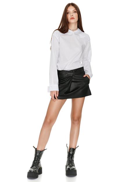 Ruffle Striped Cotton Shirt