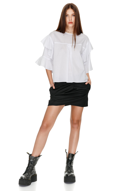 Cotton Blouse With Ruffles