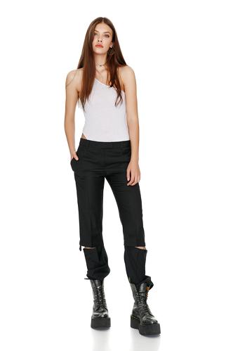 Black Cutout Wool Pants - PNK Casual