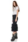 Striped Ruffled Wool Midi Skirt