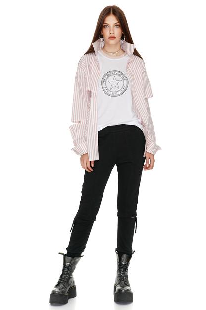 Black Cutout Cotton Pants