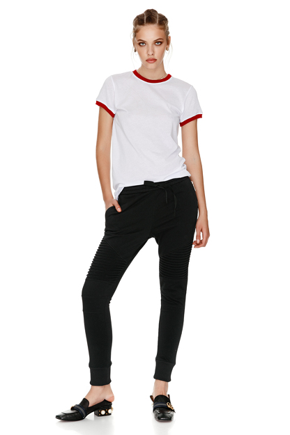 Cotton T-Shirt With Red Trim