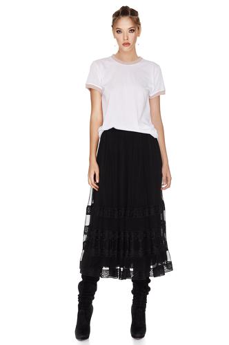 Black Silk Midi Skirt - PNK Casual