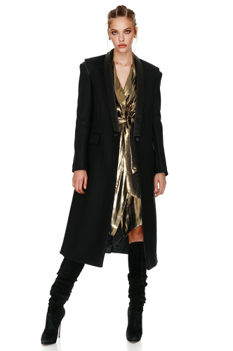 Soft Black Midi Coat - PNK Casual