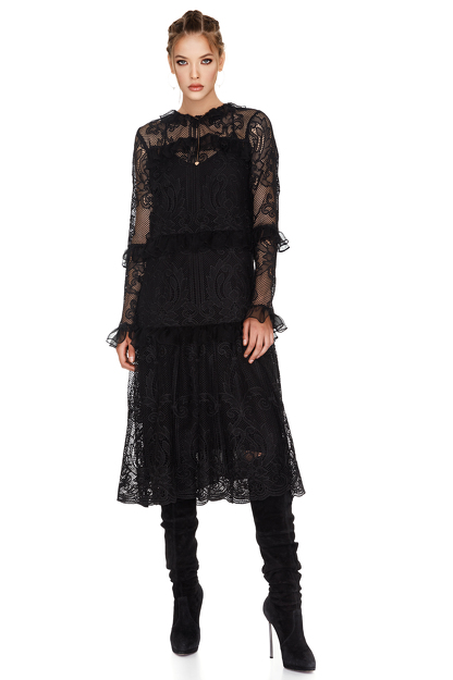 Black Crocheted Floral Lace Midi Dress