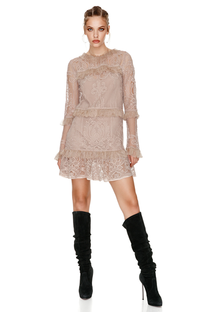 Beige Crocheted Floral Lace Dress
