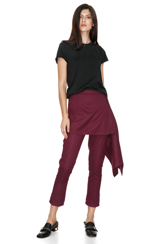 Burgundy Skirt Layered Pants - PNK Casual