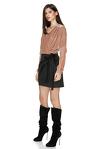 Beige/Black Mini Wrap Dress