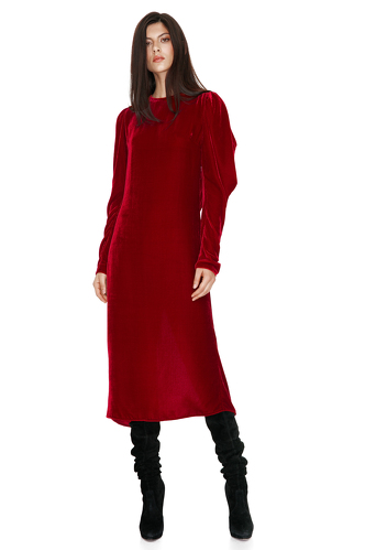 Red Backless Velvet Midi Dress - PNK Casual