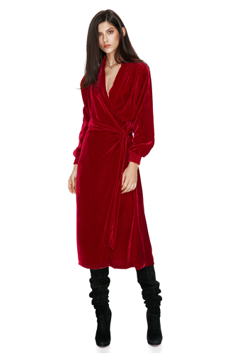 Red Velvet Wrap Dress - PNK Casual