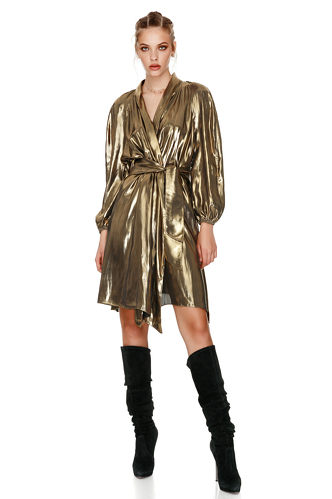 Gold Metallic Wrap Dress - PNK Casual