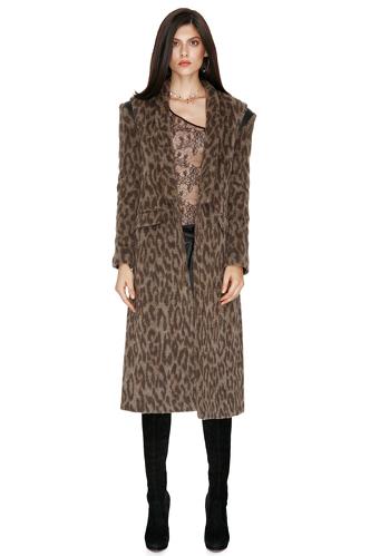 Leopard-print Midi Coat - PNK Casual