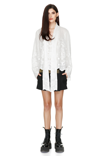 Bow Ties Embroidered Cotton Blouse - PNK Casual