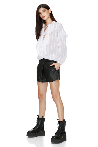 Cotton White Ruffled Shirt - PNK Casual