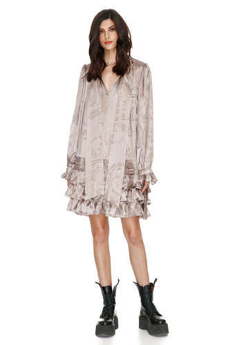 Silk Metallic Ruffled Dress - PNK Casual
