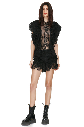 Black Lace Ruffled Blouse - PNK Casual