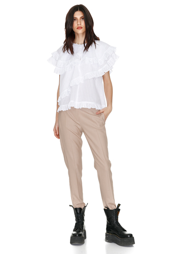 White Overlay Ruffles Blouse - PNK Casual