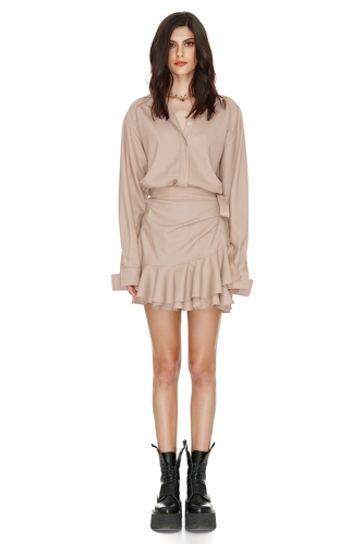 Wrap Effect Beige Dress - PNK Casual